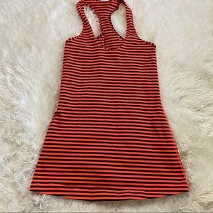 lululemon orange and black stripe racerback tank